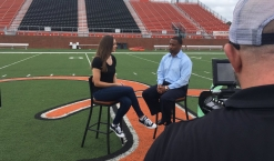 Interviewing Campbell football head coach Mike Minter for a feature story on the Camels.